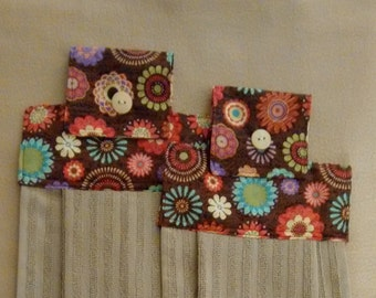 "2 Retro ""Flower Power"" Brown  with Multi Color Flowers,Hanging Dish Towel, Kitchen Gift, Kitchen linens,"