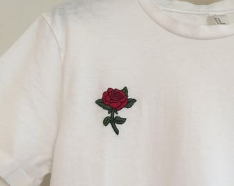 Pink - 100% cotton hand embroidered T-shirt