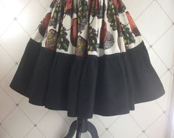 Dramatic 1950's skirt in Bold Fruit Print and deep contrast black hem panel