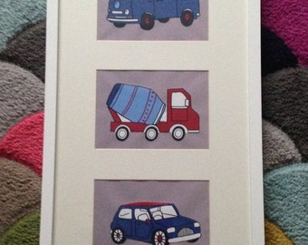 Vehicle wall art with cars, camper vans and cement mixers for child / childrens bedroom
