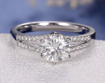 Antique Moissanite Engagement Ring Split Shank White Gold 1ct Moissanite Ring Wedding Promise Women Anniversary Gift Minimalist Eternity