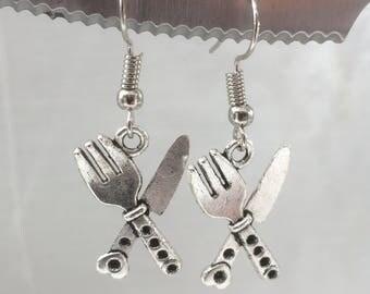 knife and fork earrings,cutlery earrings,knife earrings,fork earrings,Masterchef,Masterchef earrings,fun earrings,cute earrings,charms