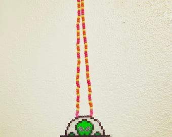 Alien in a U.F.O. Perler kandi necklace