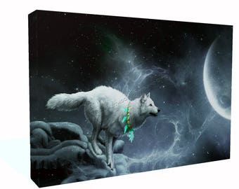 Fantasy Wolf and Moon Art Printed  Canvas Or Poster Print