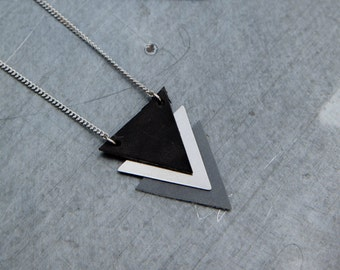 Triangle necklace, leather necklace, silver necklace, long necklace, geometric necklace, gift for her, leather pendant, black necklace