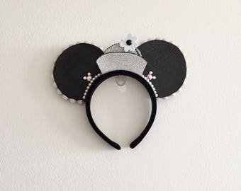 Grayscale Classic Pillbox Minnie Ears