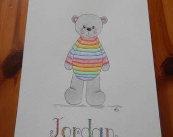 Cute Personalised Rainbow Jumper Teddy Bear Watercolour Illustration Boys Name Girls Name Bedroom Nursery Art Baby Gift