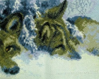 Counted cross stitch picture TWO WOLVES in snow Couple of grey romantic wolves embroidery Completed stitchery winter gift Home wall decor