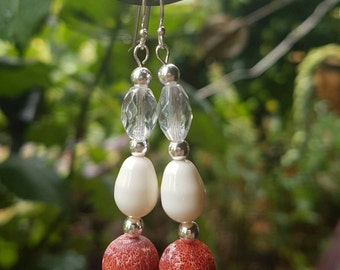 Coral & Pearl Silver Plated Earings