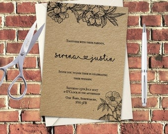 Black outline floral Printable Wedding Invitation Set