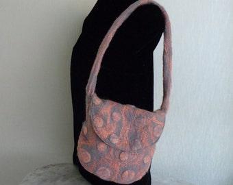 Felted bag, Shoulder bag, wet felted bag, gray and pink bag, merino wool felt bag,  Nunofelt bag
