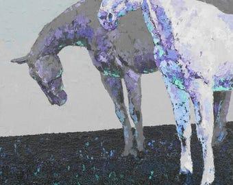 "Original Horse Art/Acrylic on Canvas/24""x30"" Horse Painting/ ""Rainy Pasture Dawn"" by Shay Roberts"