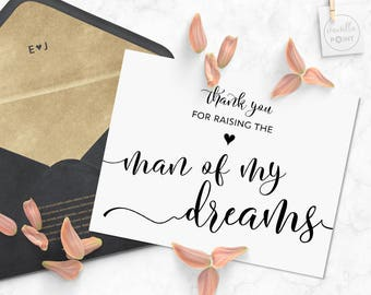 Thank You For Raising the Man Of My Dreams, Wedding Thank You Cards Mother In Law Wedding Card, Father In Law Gift Thank You Notes Printable
