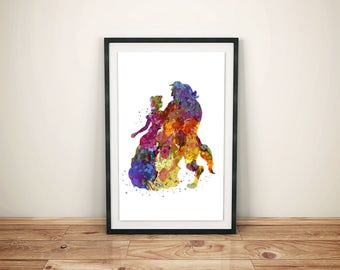 Beauty and Beast Print-Printed Beauty and Beast-Disney Belle Art-Beauty and Beast Watercolor-Beast Watercolor-Beauty Watercolor-Belle Print