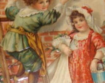 SALE Very Nicely Embossed Vintage Postcard (Children)