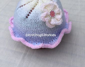 Rainbow Baby Sunhat, Toddler Girls Sunhat, Flower Motif, Hand Knitted, Pastel Colours, Newborn to 2 years