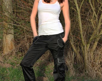 Black Upcycling satin edged trousers with white dots