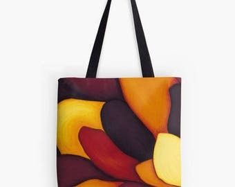 Flower petals warm colors painting print, flower - art tote bag - unique yoga bag Tote, bag work d ' art - art print