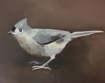 Tufted Titmouse - oil paint sketch on wood panel