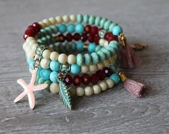 SALE, Armband Sale, Statement Wickelarmband, Wickelarmband Boho, Armband Ibiza Style, Sahara Armband, Hippie Armband, Türkis Armband