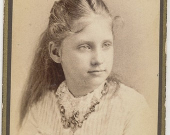 Antique CDV Photograph from the 1800s of Beautiful Gazing Girl with Cameo Necklace