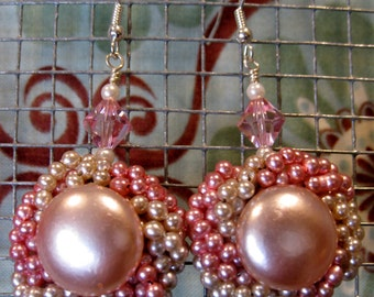 Upcycled Vintage Pearly Pink Drop Earrings