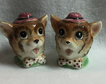 Salt and Pepper - Two Dog Heads with Red Polka Dot Bows and Pink Hats (#028)