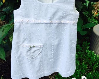 Girls Summer White Cotton Dress