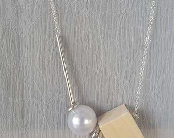 Contemporary Wood Cube Design Long Necklace