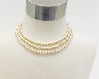 Laguna Faux Pearl Triple Strand Necklace with Rhinestones