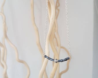 Necklace seed of crystal blue-chain silver