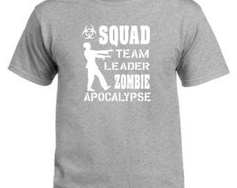 Squad team leader zombie apocalypse grey t-shirt