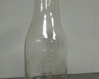 Rath Bros Brothers Milk Bottle Pittsford NY Vintage Clear One Pint Clear Glass