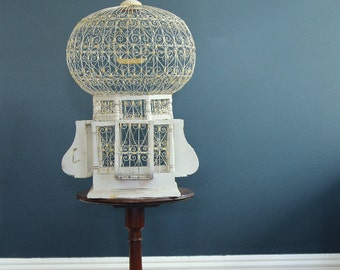 Vintage Moroccan-Style Birdcage Cream with Yellow Accents