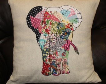 Handmade Elephant cushion | freehand machine embroidery and applique | liberty scraps | unique design