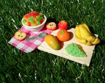 Miniature scene with miniature fruits from polymer clay
