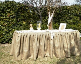 "Rectangular ruffled burlap tablecloth 72""x30""x30""-wedding tablecloth-natural color burlap tablecloth"
