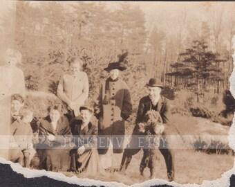 Antique Photograph . Group Portrait . Friends Laughing . Poodle . Digital Download . High Resolution Scan