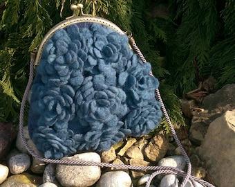 Womens blue purse, Felted purse, Blue felted purse, Felted wool purse, Felt crossbody bag, Merino wool purse, Evening purse, Proms purse