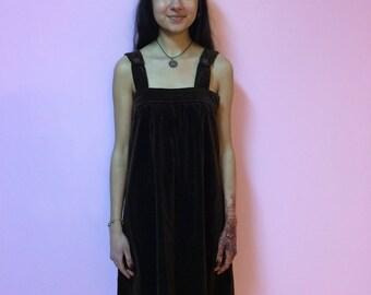 60s 70s Velvet Brown Long Dress - SMALL/MEDIUM - Women