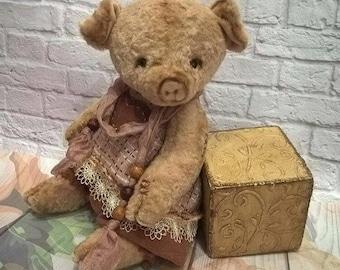 OOAK Artist Teddy Piglet 7 inches teddy bear vintage toy Plush sawdust soft sculpture teddy bear to order