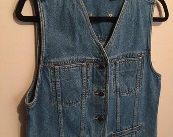 Vintage denim vest // 80's Liz Claiborne // Boho size Medium