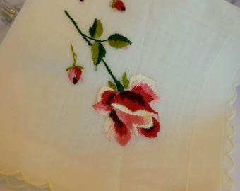 Vintage Pink and Red Rose Hanky