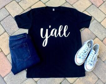 Y'all vneck tshirt