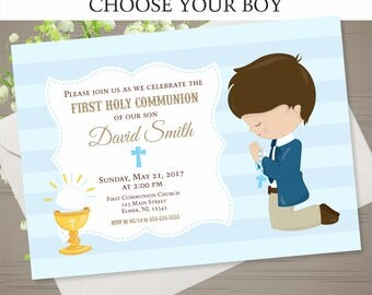 FIRST COMMUNION Invitation Boy First Holy Communion Invitation First Communion Boy Holy Communion Printable CHOOSE Your Boy Invitation