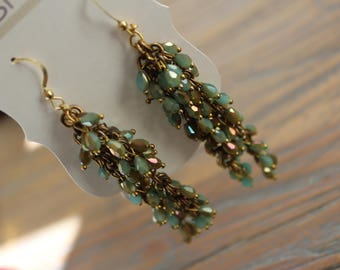 Gold and Aqua/Teal Blue Beaded Earrings