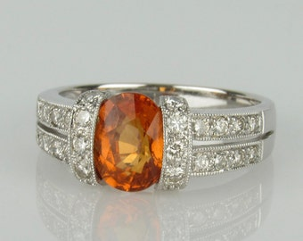 14K Spessartite Garnet and Diamond Ring