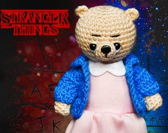 Stranger Things, serial Knitted bear Eleven Knitted teddy bear Toy bear Crochet bear plush bear Knitted teddy Knitted Toy Stranger Things