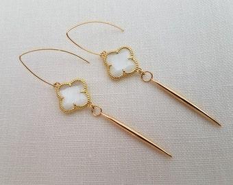 White Clover and Gold Dart Dangle Earrings