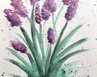 Flowers Watercolor Original Painting, Floral Painting, Purple Flowers, Loose Watercolors, Small Painting 6 x 9